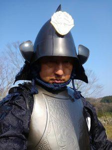 岡城武者揃え実行委員会 加来浩祐会長の志賀親次甲冑姿