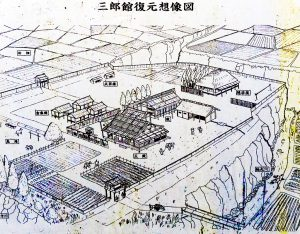 緒方三郎惟栄館跡の図看板