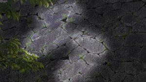 岡城本丸の石垣、整層乱積の拡大と説明