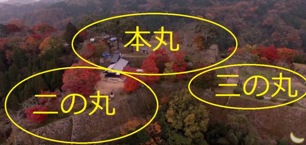 岡城 本丸 二の丸 三の丸 ドローン空撮 説明図