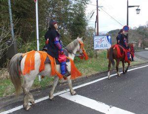 岡城桜まつりでの騎馬武者姿