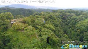 夏の密林のように生い茂る自然に覆われた岡城 本丸 二の丸 三の丸 西の丸 清水谷 地獄谷 ドローン撮影(4K)写真 Vol.3