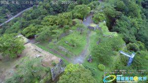 夏の密林のように生い茂る自然に覆われた岡城 ドローン撮影(4K)写真 Vol.7 20170704 三の丸 高石垣