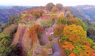 天空の紅葉深まりつつ 岡城 ドローン映像4K 20181024 Okajou castle that was colored by Autumn leaves